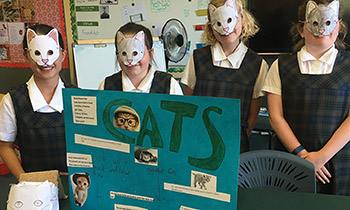 Marsden Year 6 students with their pop-up museum exhibit