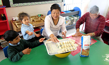 Making dumplings at Marsden Preschool
